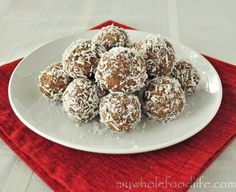 No Bake Coconut Balls.  Super yummy, satisfies a sweet tooth, and you can make them in just minutes!  Vegan, gluten free and paleo.
