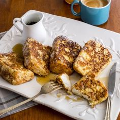 Angel Food Cake French Toast - All the light, fluffiness of angel food cake for breakfast!
