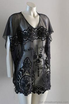 Kaftan Short Sleeve Gothic Goth Beach Resort Summer by chrisst, $89.00