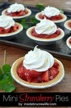 Mini Strawberry Pies | Inside BruCrew Life - fresh strawberries in a graham cracker crust topped with Jello