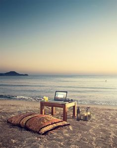 office spaces, dream, the office, laptop, at the beach, desk, place, home offices, workspac