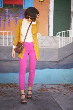 pink pants + gold sweater