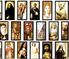 holy cards- used to get these in school, had a collection of saints...
