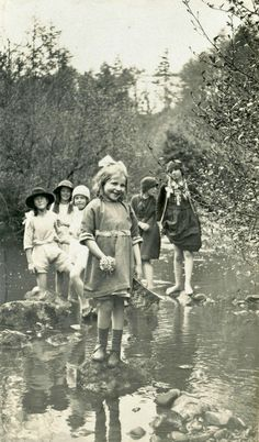Girls paddling in a stream, Rothbury, Northumberland, May 1923