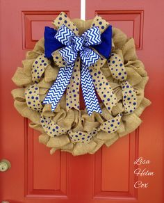 Burlap wreath with royal blue polka dots & chevron