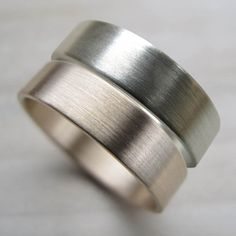 Same-sex wedding band set. His and His wedding rings. Handmade from recycled gold by AideMemoire #gaywedding #samesexwedding