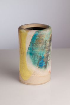 Painted flower vase by Gary Wood