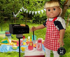 American Girl Doll or 18 Inch Doll Outdoor Grill Set