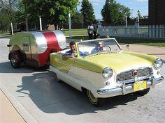 1956 Benroy Teardrop Trailer with a 1958 Nash Metropolitan.  Love the car!