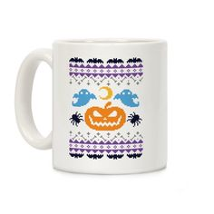 Original art in a wrap-around print on 11 and 15 ounce Mugs. Both dishwasher and microwave safe. Printed in the USA. Ugly sweaters aren't just for Christmas! Show the world your love for Halloween while simultaneously embarrassing your friends and family with this Halloween Ugly Sweater Design!