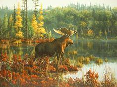 Leanin' Tree James Hautman Moose Lake Autumn Forest Cabin Blank Greeting Card