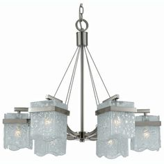 Arctic Ice 6-light Satin Nickel Chandelier  @Overstock - Illuminate any room in breathtaking elegance with this 6-light satin nickel chandelier. This luxurious fixture features chiseled ribbed glass shades and a satin nickel finish, making it an upscale, contemporary addition to your home or office.http://www.overstock.com/Home-Garden/Arctic-Ice-6-light-Satin-Nickel-Chandelier/5555383/product.html?CID=214117 $284.99