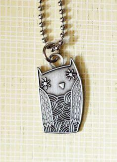 Super Cute Owl charm pendant necklace pendant necklac, owl art, owl necklac, owl charm, charm pendant