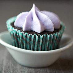 Earl Grey chocolate cupcakes with lavender frosting...yes, you heard me right