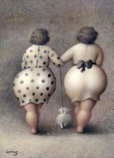 curvy women fashion, jeann lorioz, artists, polka dots, the artist, big girls, walk, friend, little dogs
