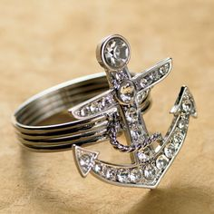 Glamorous Anchor Napkin Rings with Jewels.