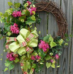 Front Door Wreath - Fun Front Door Wreath with Green and Plaid Bow