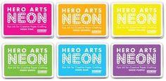 Hero Arts Dye Ink Pad SET of 6 NEON Pink Orange Yellow Green Blue Purple