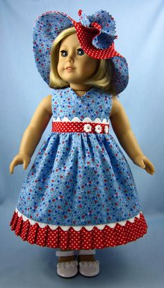 18 Inch Doll Clothes  - Doll Sundress and Hat in Red, White and Blue Hearts and Flowers