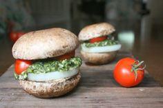 Vegan Pesto Mushroom Burgers