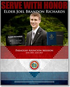 A personalized missionary countdown calendar with his portuguese name tag, scriptures, country flag, mission name and service dates. This is for two years, but 18 month versions are available for sister missionaries. Makes a great gift! www.missionaryposters.com call, missionari fun, missionari calendar, gift, missionari mom, missionaries, countdown calendar, lds missionari, missionari idea
