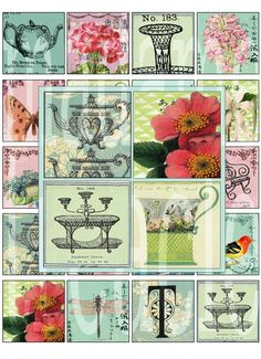 Victorian English tea in the garden - digital download collage sheet 20 x 2x2 inch original printable images
