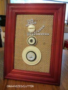 Framed Button Snowman