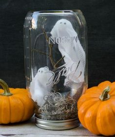 Ghosts In A Jar: With a combination of dollar store supplies and twigs from your backyard, you, too, can make this teeny-tiny haunted scene.