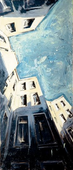 Amazing perspective. amaz perspect, oil paintings, painting oil, berlin himmel, painting art, perspective painting, perspective artists, helg windisch, blue skies