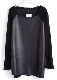 Black Long Sleeve Contrast PU Leather T-Shirt
