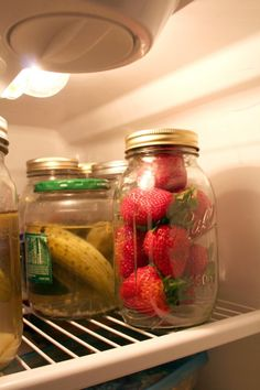 Unwashed strawberries (and other berries!) in a glass jar will keep for a week in the fridge. No more moldy berries! -- MUST TRY!