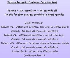 Tabata Focused 20 Minute Core Workout