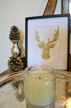 christma diy, gold reindeer, holiday parties, guest books, christmas crafts