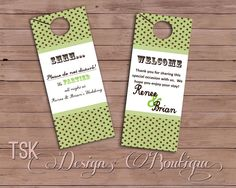 Set of 20 Wedding Bridal Door Hanger for Hotel Guests or Out Of Town Bags. $40.00, via Etsy.