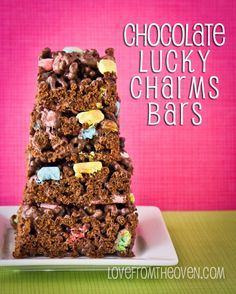 Chocolate Lucky Charms Bars at Love From The Oven