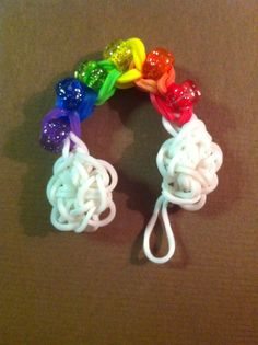 Rainbow w/2 clouds charm - rainbow loom Created by Kelly Miller Fort Wayne, IN