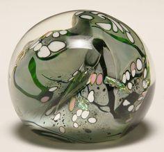 Rollin Karg contemporary art glass paperweight.