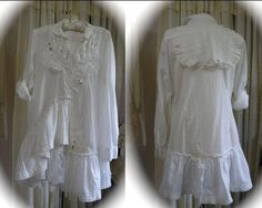 Romantic Shabby Tunic Blouse, upcycled altered couture lagenlook by Dede of TatteredDelicates.etsy
