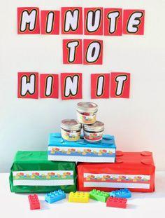 lego birthday party games, birthday parti, lego games, lego minute to win it, lego inspir