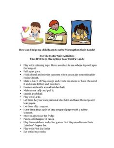 66 tips for strengthening hands. A great list to send home to parents.  Dysgraphia