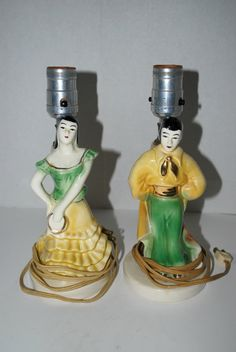 sale vintage Spanish Flamenco  dancers lamps  by capecodgypsy, $40.00