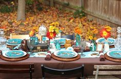 House of Turquoise: Happy Thanksgiving! holiday, table settings, rustic table, color combos, fall parties, room color, color combinations, hous, thanksgiving table