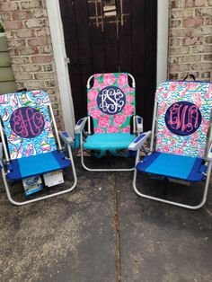 Hand painted Lilly Pulitzer inspired monogram beach chairs
