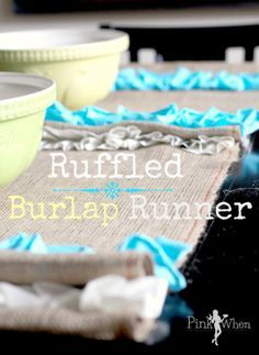 Ruffled Burlap Table Runner Tutorial runner tutori, tabl runner, ruffl burlap, craft idea, table runners, sew challeng, burlap tabl