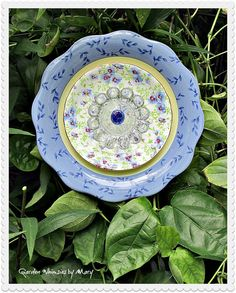 Blue and White Plate Flower Garden Stake  by GardenWhimsiesByMary, $40.00