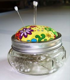 Pin cushion and storage container in one.  See the tutorial on my blog.