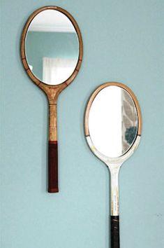 Tennis rackets repurposed as mirrors