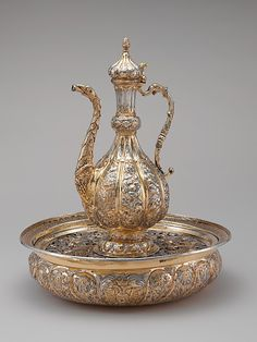 Ewer and basin (Lavabo set) Probably made at Chisinau Court Workshop.   Date:     ca. 1680–85. Culture:     Moldovan. Medium:     Silver, partially gilded.