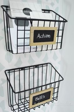 DIY Industrial wire mail baskets on A house full of sunshine: Home office makeover reveal!