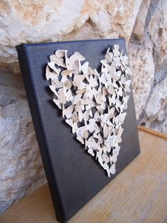 Romantic 3D Heart / 3D Butterfly Art - made from vintage Japanese Paper / Made to Order